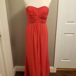 Bridesmaid long strapless coral dress